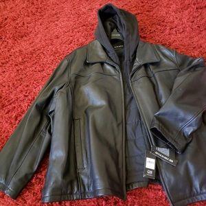 Mens Black Revit Leather Jacket Coat 3X